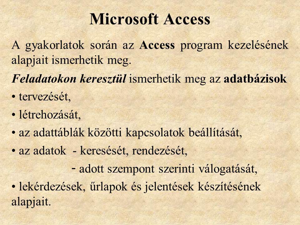 Microsoft Access A gyakorlatok során az Access program kezelésének alapjait ismerhetik meg.