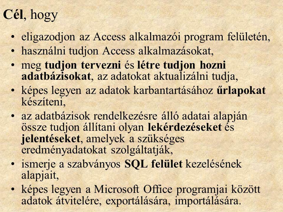 Microsoft Access A gyakorlatok során az Access program kezelésének alapjait ismerhetik meg. Feladatokon keresztül ismerhetik meg az adatbázisok tervez