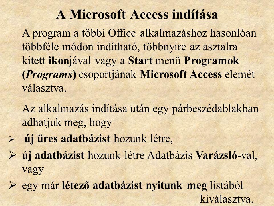 A Microsoft Access indítása A program a többi Office alkalmazáshoz hasonlóan többféle módon indítható, többnyire az asztalra kitett ikonjával vagy a Start menü Programok (Programs) csoportjának Microsoft Access elemét választva.