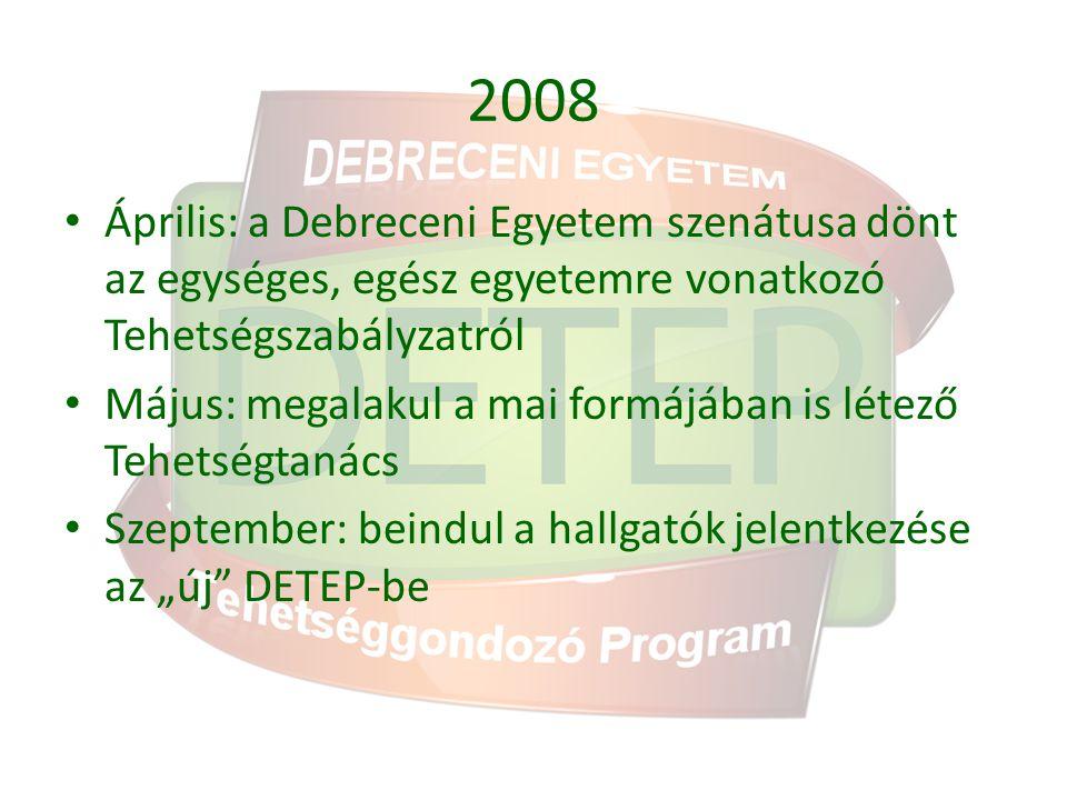 2008 Április: a Debreceni Egyetem szenátusa dönt az egységes, egész egyetemre vonatkozó Tehetségszabályzatról Május: megalakul a mai formájában is lét