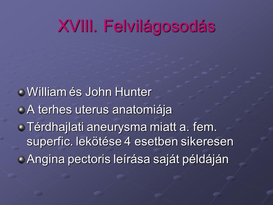 XVIII. Felvilágosodás William és John Hunter A terhes uterus anatomiája Térdhajlati aneurysma miatt a. fem. superfic. lekötése 4 esetben sikeresen Ang