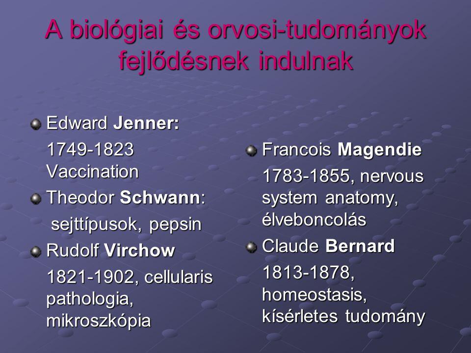 A biológiai és orvosi-tudományok fejlődésnek indulnak Edward Jenner: 1749-1823 Vaccination Theodor Schwann: sejttípusok, pepsin sejttípusok, pepsin Ru