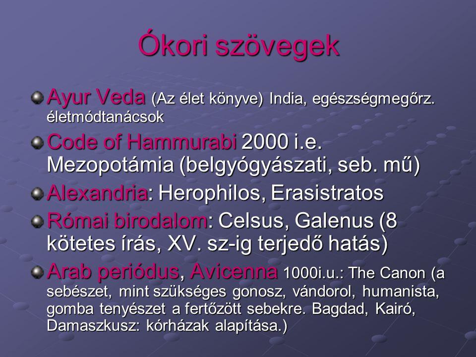 Ókori szövegek Ayur Veda (Az élet könyve) India, egészségmegőrz. életmódtanácsok Code of Hammurabi 2000 i.e. Mezopotámia (belgyógyászati, seb. mű) Ale