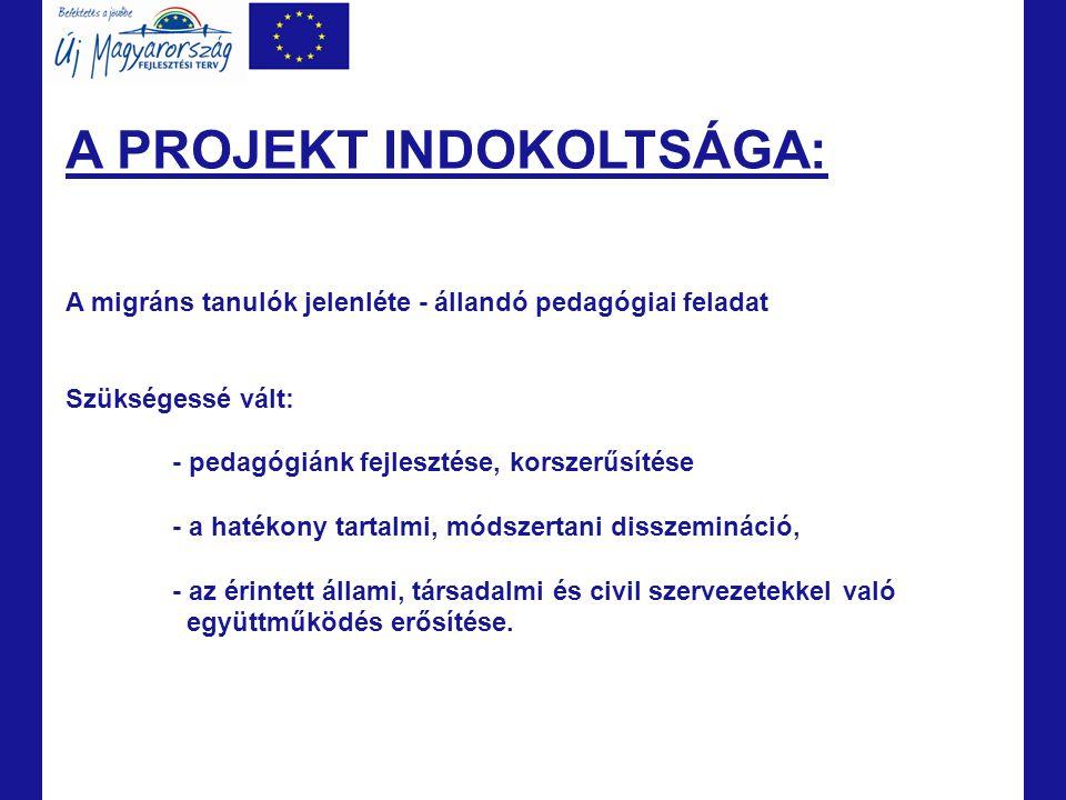 A PROJEKT CÉLJA: Hosszú távú: A migráns hátterű tanulók nevelésének, oktatásának, beilleszkedésének és a többséggel való harmonikus együttélésének megteremtése Budapesten és a Közép-magyarország Régióban.