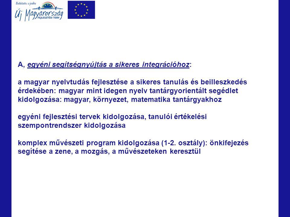 A, egyéni segítségnyújtás a sikeres integrációhoz: a magyar nyelvtudás fejlesztése a sikeres tanulás és beilleszkedés érdekében: magyar mint idegen ny