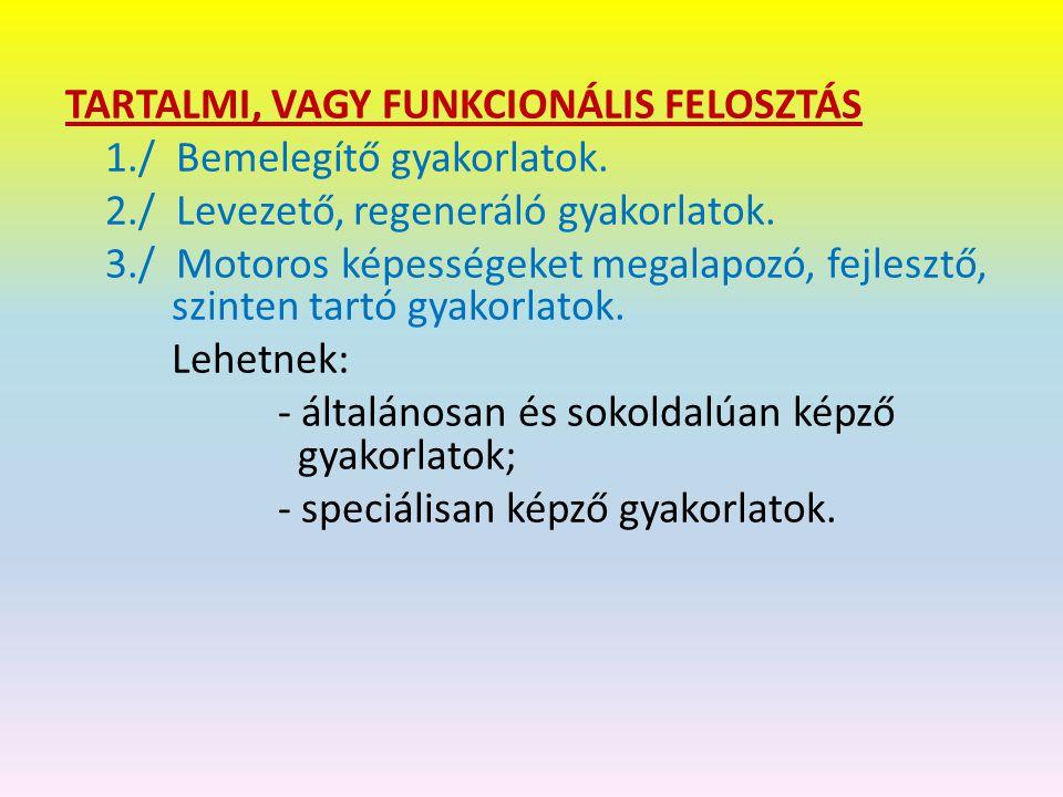 TARTALMI, VAGY FUNKCIONÁLIS FELOSZTÁS 1./ Bemelegítő gyakorlatok.