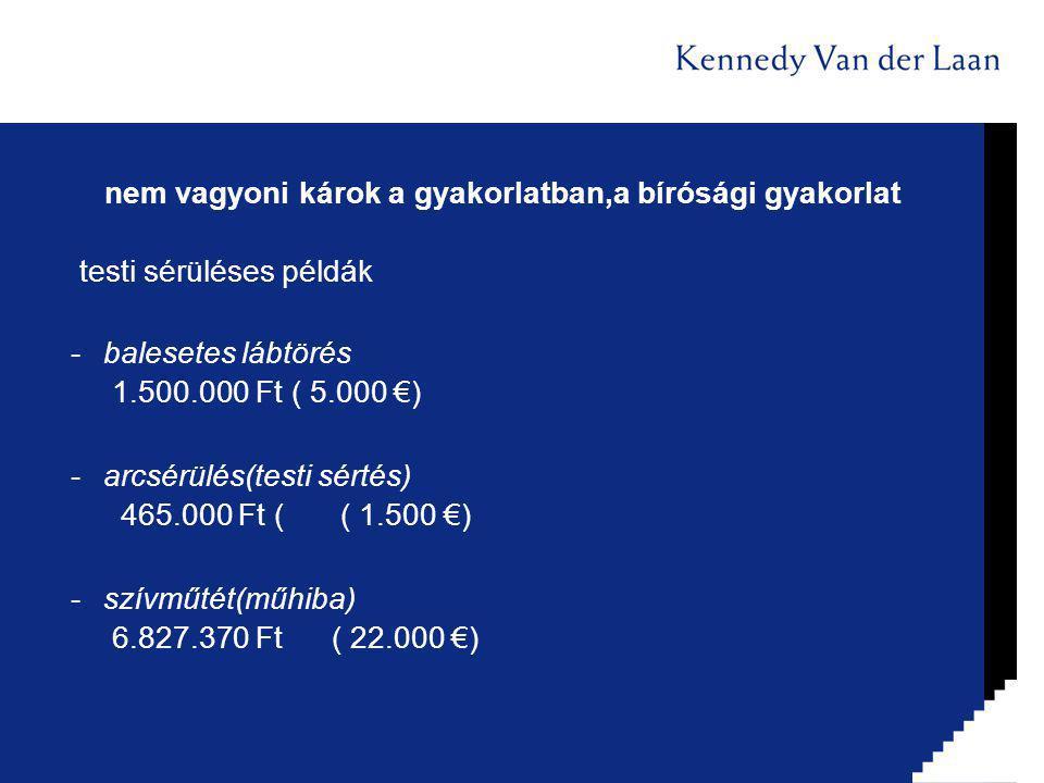 nem vagyoni károk a gyakorlatban,a bírósági gyakorlat testi sérüléses példák -balesetes lábtörés 1.500.000 Ft ( 5.000 €) -arcsérülés(testi sértés) 465.000 Ft ( ( 1.500 €) -szívműtét(műhiba) 6.827.370 Ft ( 22.000 €)