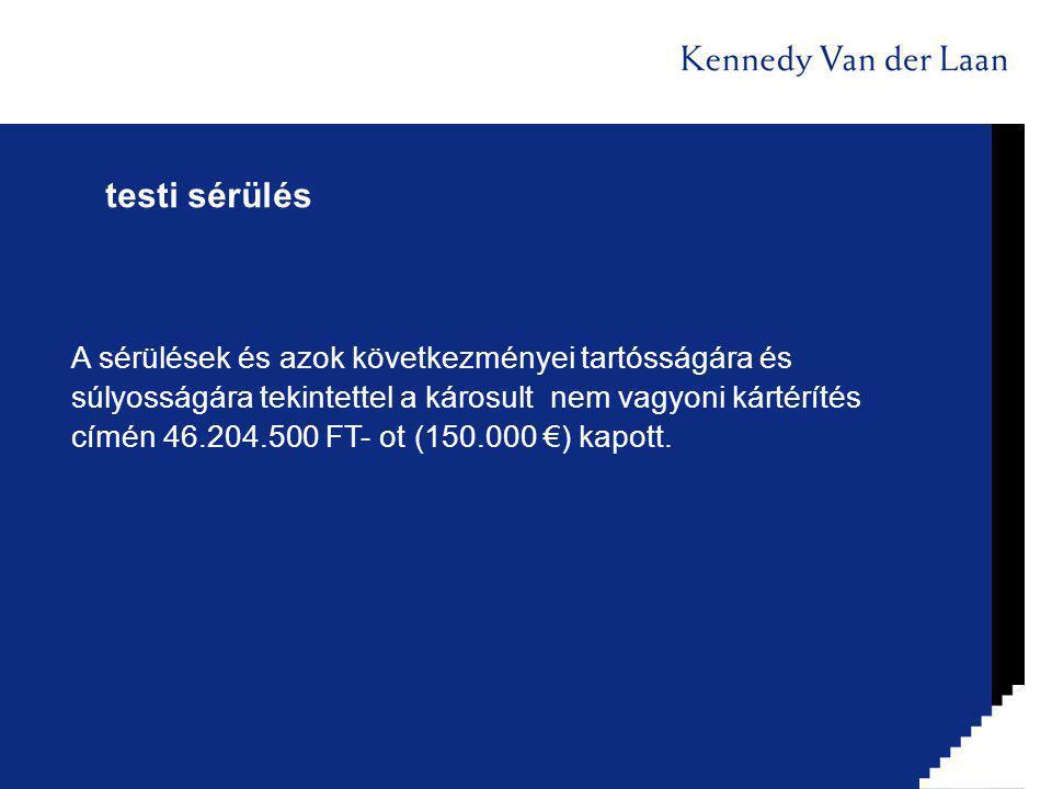 testi sérülés A sérülések és azok következményei tartósságára és súlyosságára tekintettel a károsult nem vagyoni kártérítés címén 46.204.500 FT- ot (150.000 €) kapott.
