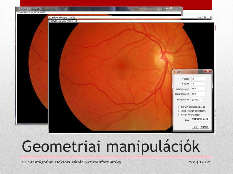 Geometriai manipulációk 2014.12.02.SE Szentágothai Doktori Iskola Neuroinformatika