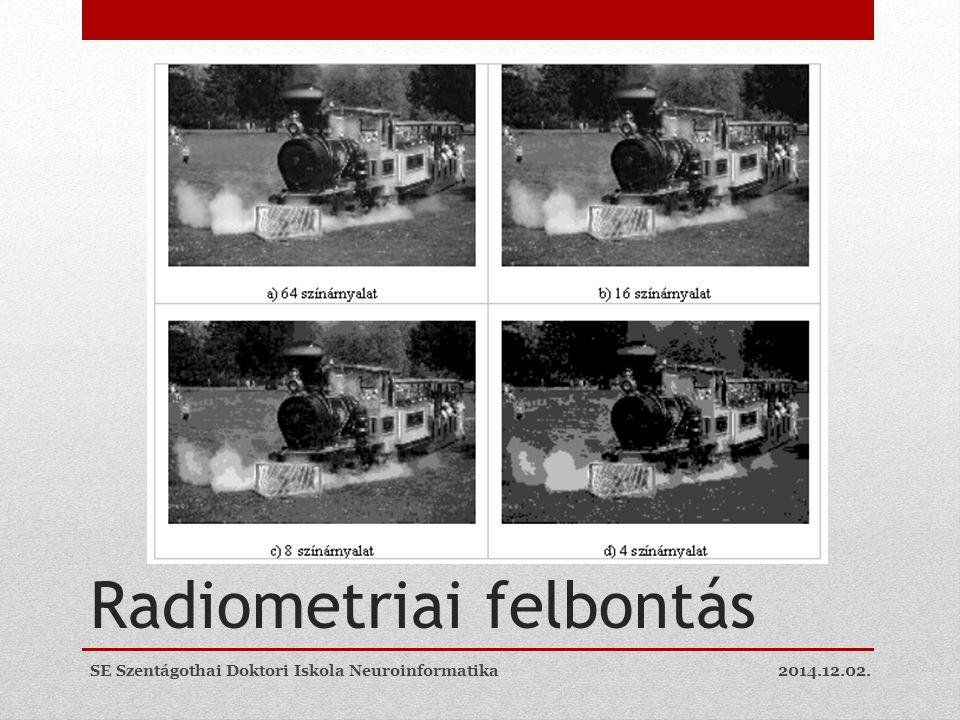Radiometriai felbontás 2014.12.02.SE Szentágothai Doktori Iskola Neuroinformatika