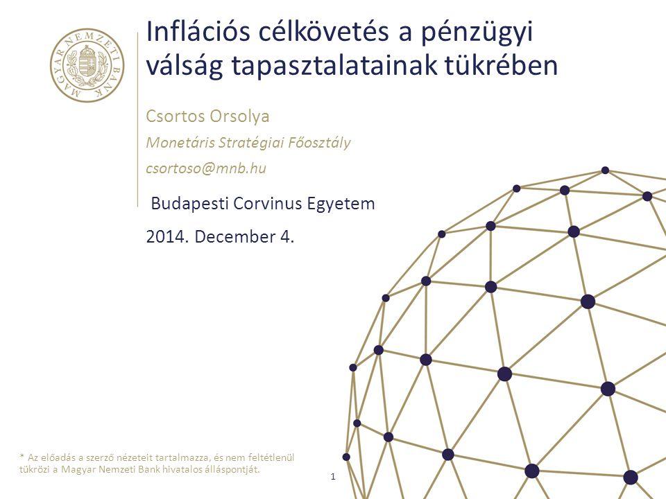 Inflációs célkövetés a pénzügyi válság tapasztalatainak tükrében Budapesti Corvinus Egyetem Csortos Orsolya Monetáris Stratégiai Főosztály csortoso@mn