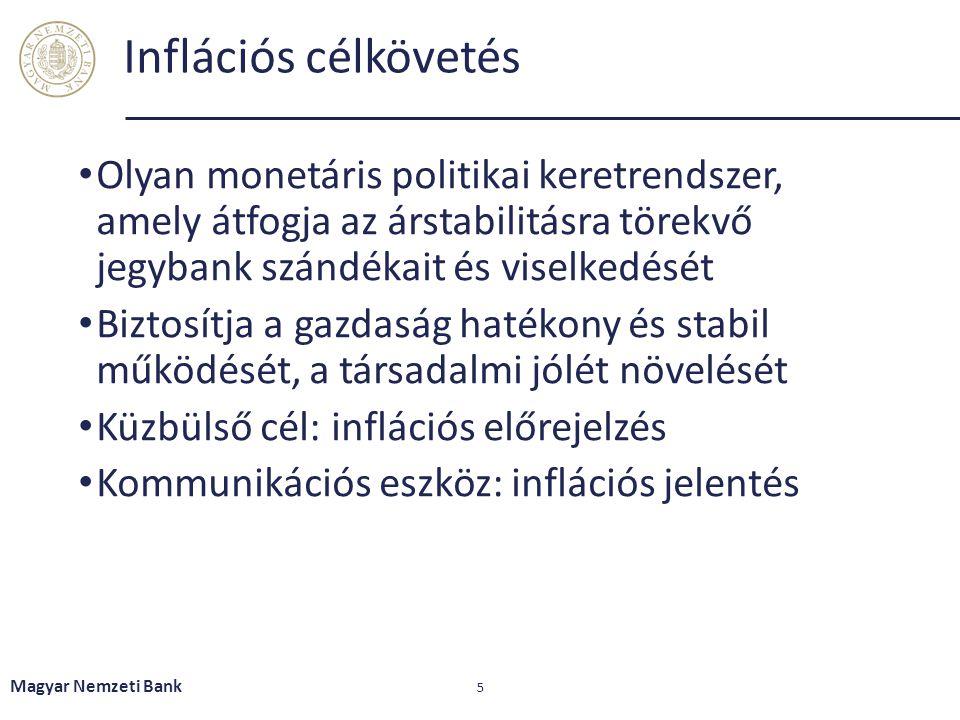 Inflációs célkövetés – elméleti megfontolások Árstabilitási mandátum elsődlegessége Számszerű inflációs cél kijelölése  Nominális horgony biztosítása Jegybank függetlenségének biztosítása Átláthatóság Elszámoltathatóság Magyar Nemzeti Bank 6