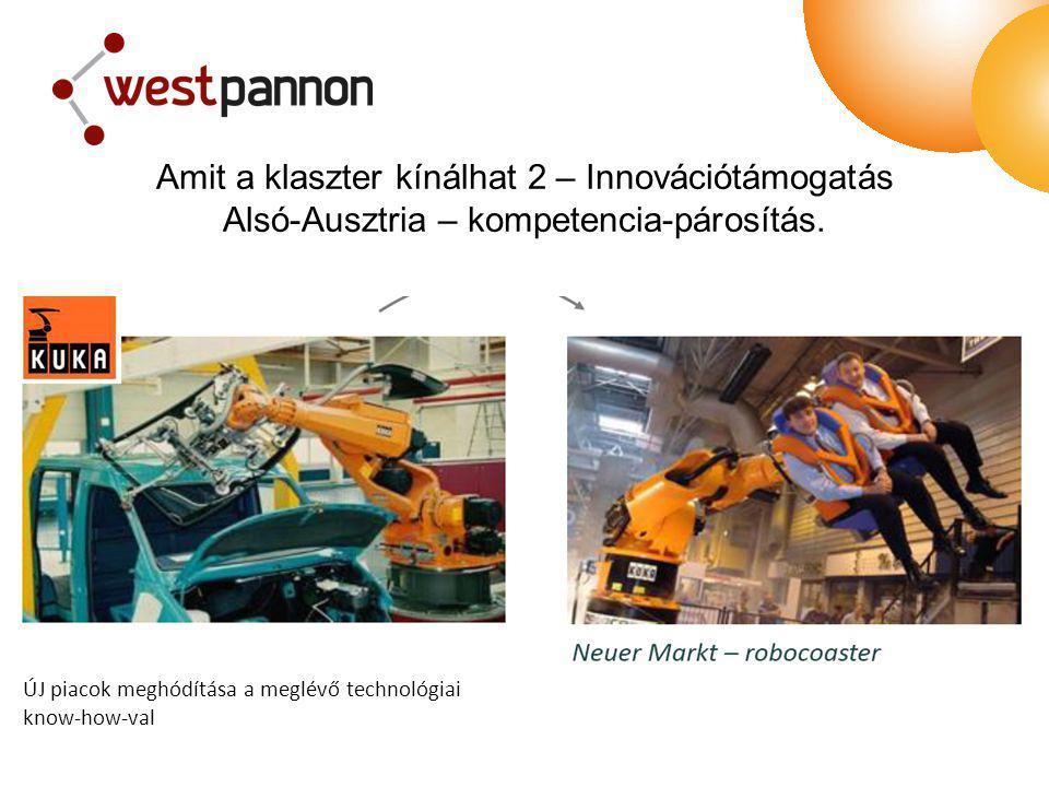 ÚJ piacok meghódítása a meglévő technológiai know-how-val Amit a klaszter kínálhat 2 – Innovációtámogatás Alsó-Ausztria – kompetencia-párosítás.