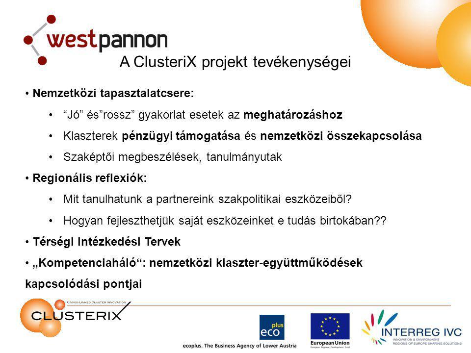 A ClusteriX projekt tevékenységei Nemzetközi tapasztalatcsere: Jó és rossz gyakorlat esetek az meghatározáshoz Klaszterek pénzügyi támogatása és nemzetközi összekapcsolása Szaképtői megbeszélések, tanulmányutak Regionális reflexiók: Mit tanulhatunk a partnereink szakpolitikai eszközeiből.