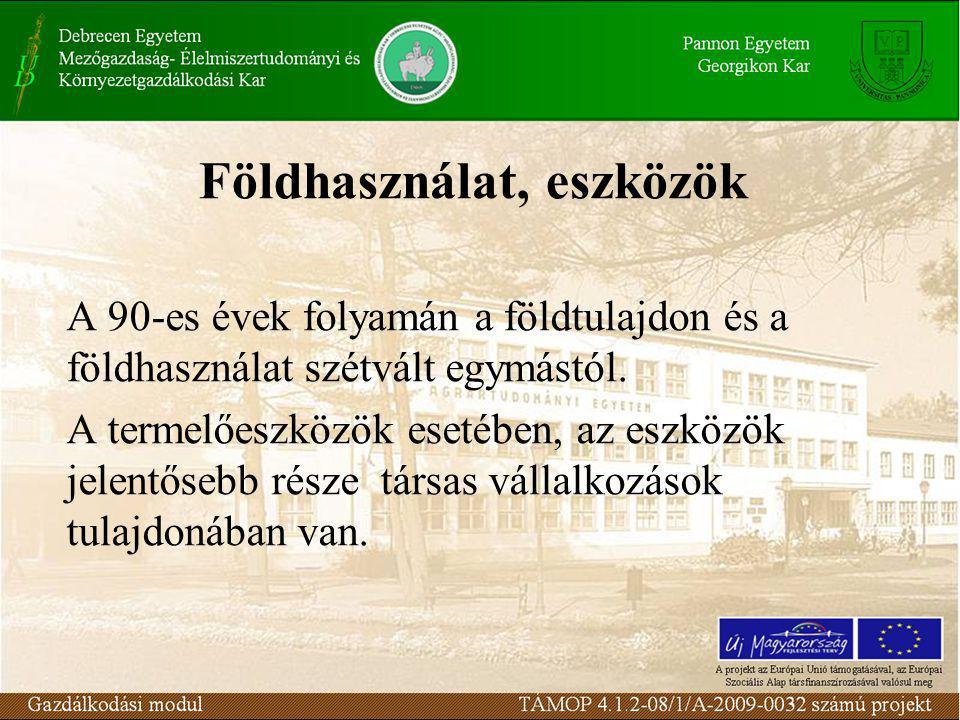 Földhasználat, eszközök A 90-es évek folyamán a földtulajdon és a földhasználat szétvált egymástól.