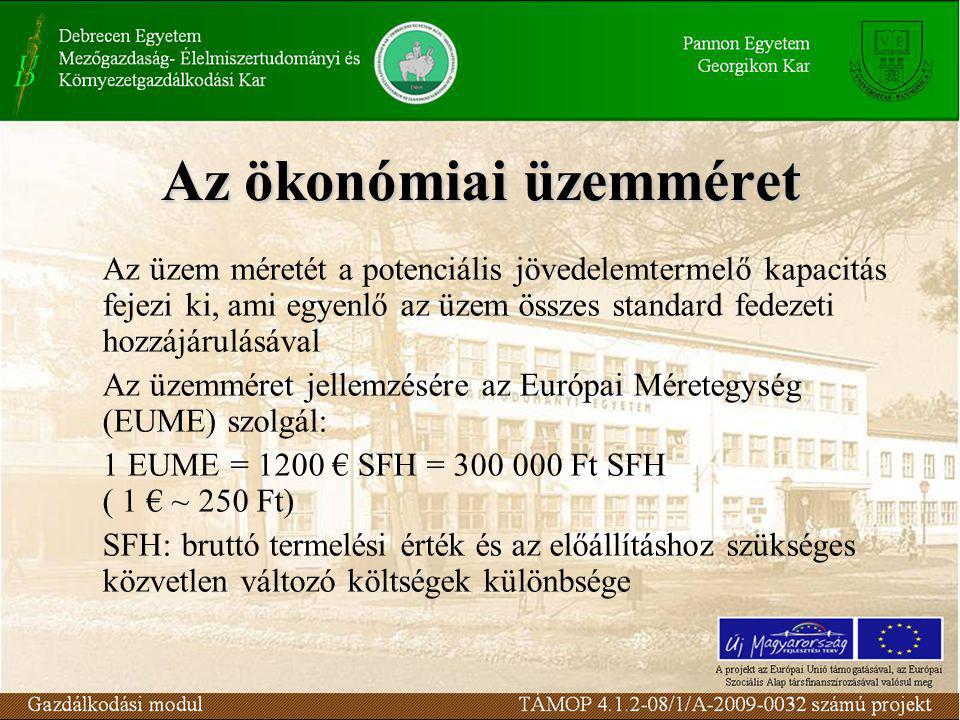 Az ökonómiai üzemméret Az üzem méretét a potenciális jövedelemtermelő kapacitás fejezi ki, ami egyenlő az üzem összes standard fedezeti hozzájárulásával Az üzemméret jellemzésére az Európai Méretegység (EUME) szolgál: 1 EUME = 1200 € SFH = 300 000 Ft SFH ( 1 € ~ 250 Ft) SFH: bruttó termelési érték és az előállításhoz szükséges közvetlen változó költségek különbsége