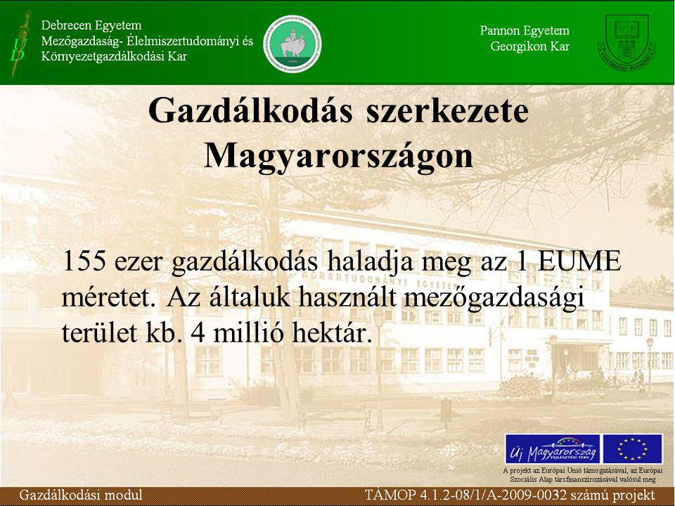 Gazdálkodás szerkezete Magyarországon 155 ezer gazdálkodás haladja meg az 1 EUME méretet.