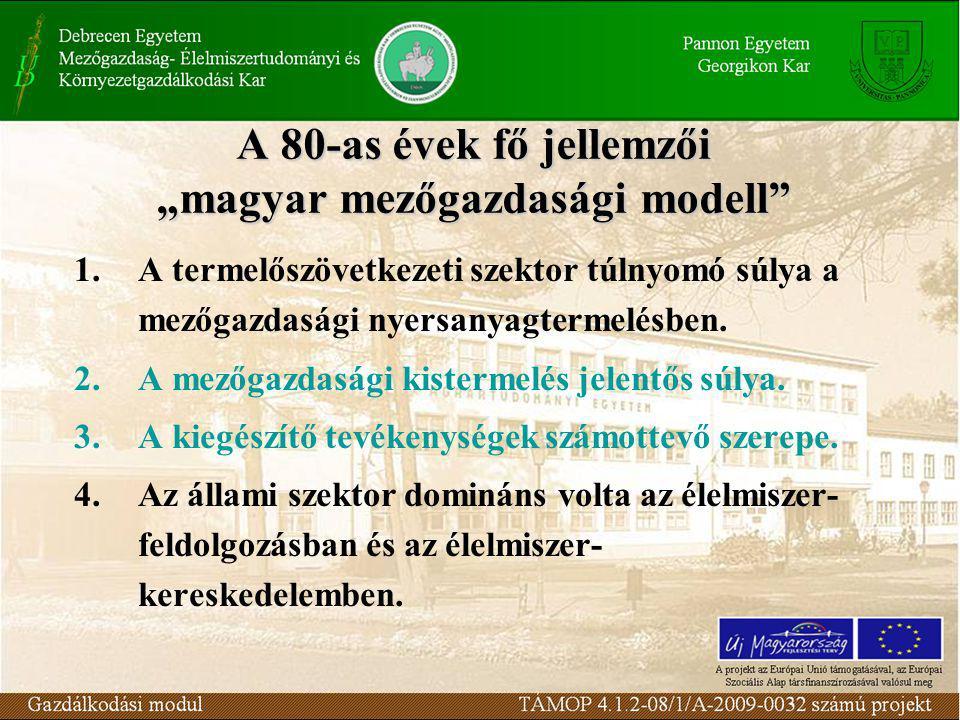 """A 80-as évek fő jellemzői """"magyar mezőgazdasági modell 1.A termelőszövetkezeti szektor túlnyomó súlya a mezőgazdasági nyersanyagtermelésben."""
