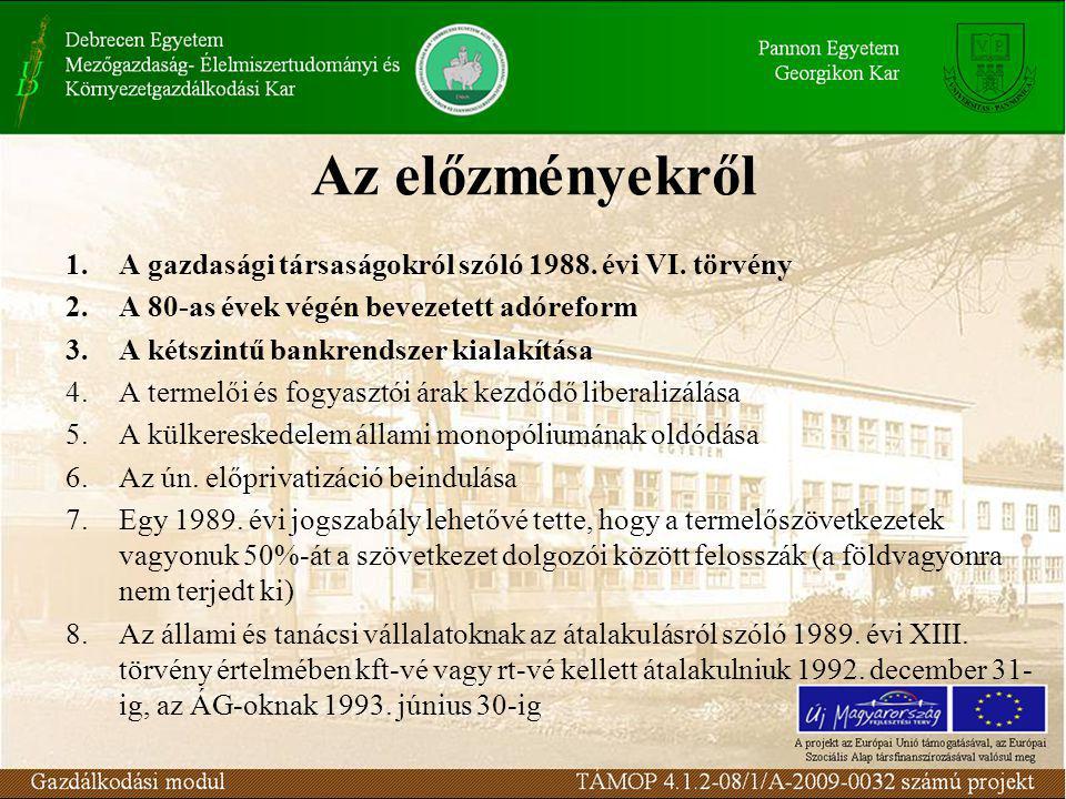 Az előzményekről 1.A gazdasági társaságokról szóló 1988.