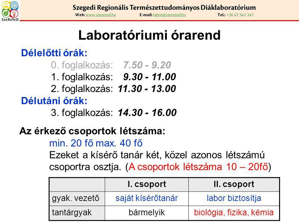 Laboratóriumi órarend Délelőtti órák: 0. foglalkozás: 7.50 - 9.20 1. foglalkozás: 9.30 - 11.00 2. foglalkozás: 11.30 - 13.00 Délutáni órák: 3. foglalk