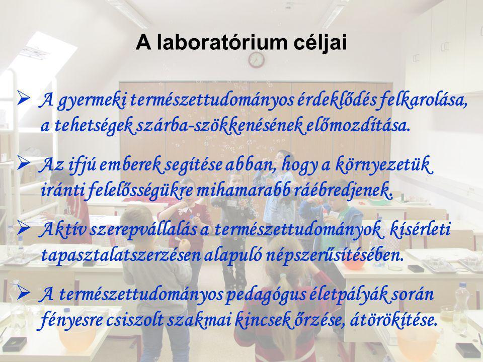 A laboratórium céljai  A gyermeki természettudományos érdeklődés felkarolása, a tehetségek szárba-szökkenésének előmozdítása.  Az ifjú emberek segít