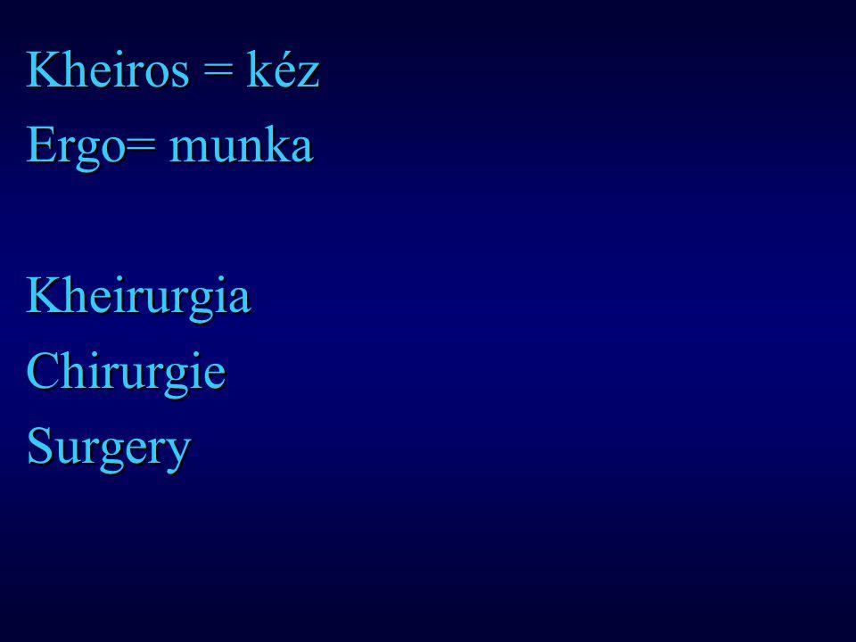 Kheiros = kéz Ergo= munka Kheirurgia Chirurgie Surgery Kheiros = kéz Ergo= munka Kheirurgia Chirurgie Surgery