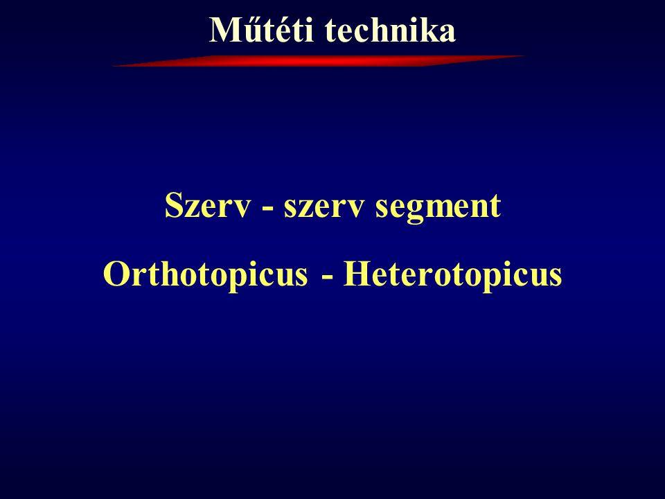 Műtéti technika Szerv - szerv segment Orthotopicus - Heterotopicus