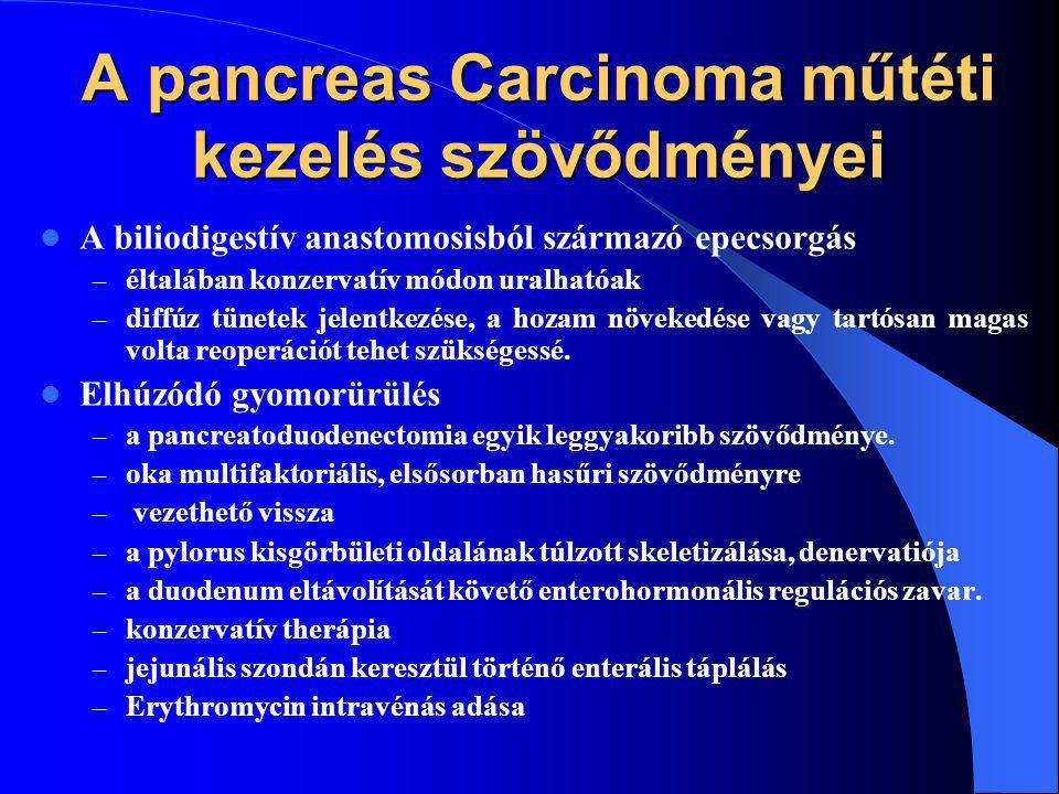 A pancreas Carcinoma műtéti kezelés szövődményei A biliodigestív anastomosisból származó epecsorgás – éltalában konzervatív módon uralhatóak – diffúz tünetek jelentkezése, a hozam növekedése vagy tartósan magas volta reoperációt tehet szükségessé.