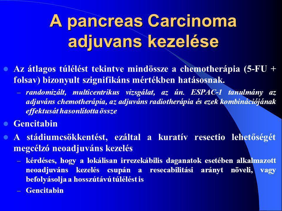 A pancreas Carcinoma adjuvans kezelése Az átlagos túlélést tekintve mindössze a chemotherápia (5-FU + folsav) bizonyult szignifikáns mértékben hatásosnak.