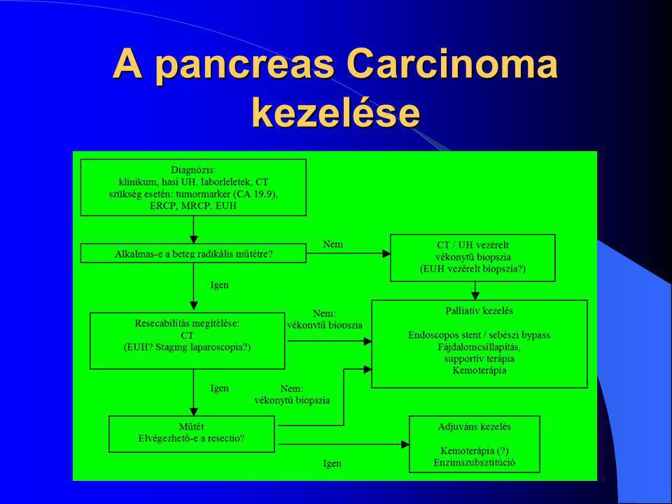 Radikális műtét – a gyógyulás egyetlen esélye Sebészi palliatio – kielégítő általános állapotú, műtétre alkalmas, tumoros ascitessel vagy kiterjedt távoli metastasisokkal nem bíró beteg esetében, ahol a várható túlélés meghaladja a 3 hónapot Endoszkópos stent – egyértelműen irresecabilis esetekben, ahol a beteg életkora, általános állapota, vagy az előrehaladott tumoros folyamat miatt még palliatív sebészi beavatkozás sem jön szóba