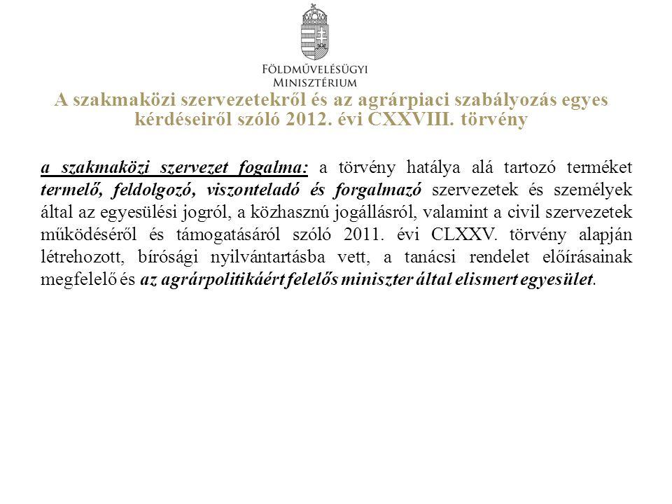 A szakmaközi szervezetekről és az agrárpiaci szabályozás egyes kérdéseiről szóló 2012. évi CXXVIII. törvény a szakmaközi szervezet fogalma: a törvény