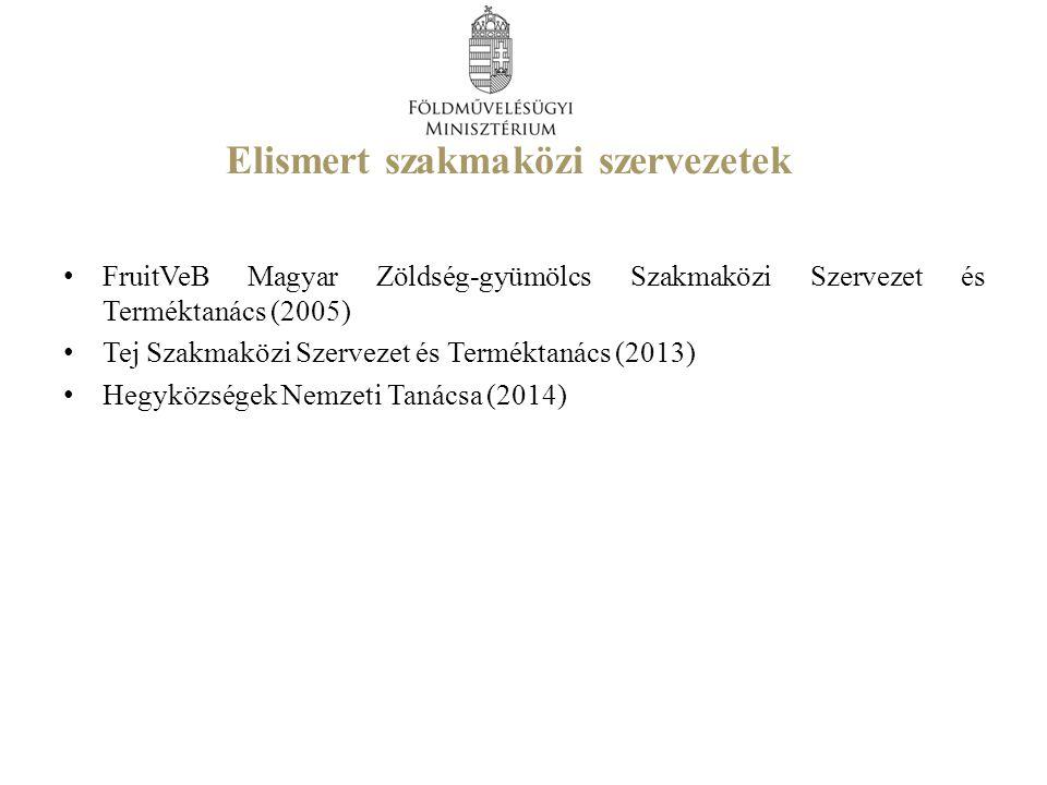 Elismert szakmaközi szervezetek FruitVeB Magyar Zöldség-gyümölcs Szakmaközi Szervezet és Terméktanács (2005) Tej Szakmaközi Szervezet és Terméktanács