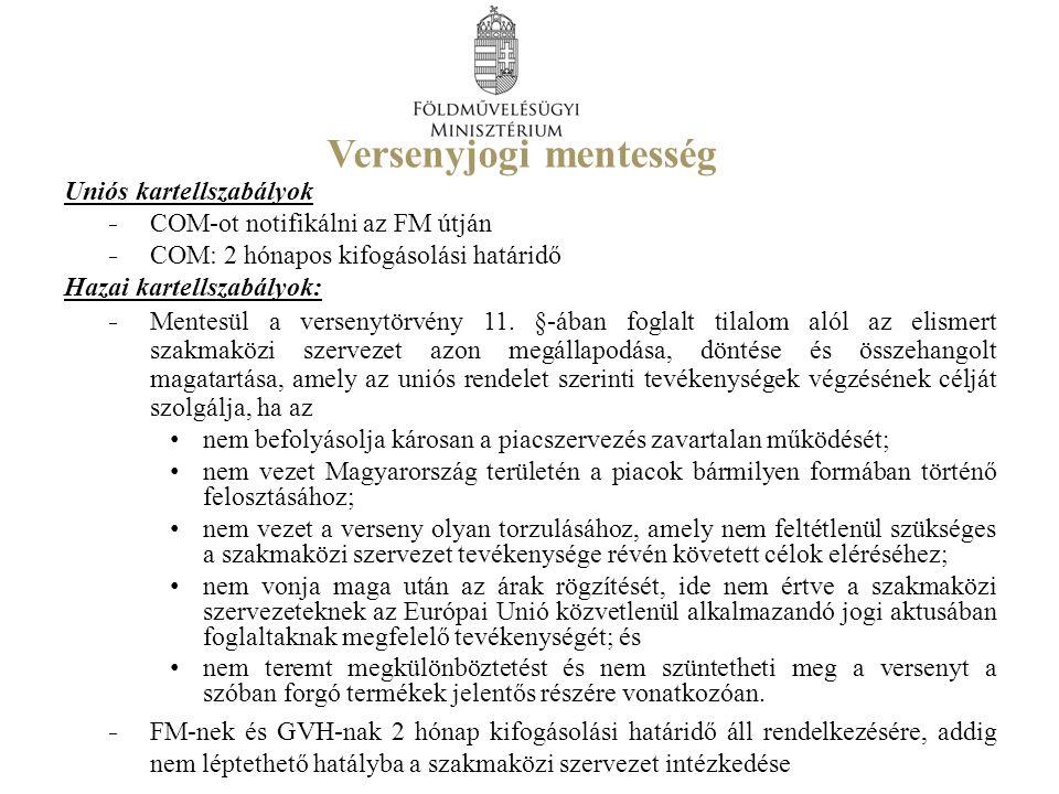 Versenyjogi mentesség Uniós kartellszabályok ̵ COM-ot notifikálni az FM útján ̵ COM: 2 hónapos kifogásolási határidő Hazai kartellszabályok: ̵ Mentesü