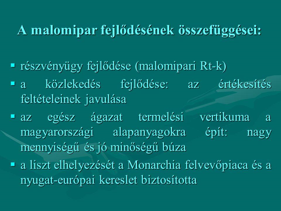 A malomipar fejlődésének összefüggései:  részvényügy fejlődése (malomipari Rt-k)  a közlekedés fejlődése: az értékesítés feltételeinek javulása  az egész ágazat termelési vertikuma a magyarországi alapanyagokra épít: nagy mennyiségű és jó minőségű búza  a liszt elhelyezését a Monarchia felvevőpiaca és a nyugat-európai kereslet biztosította