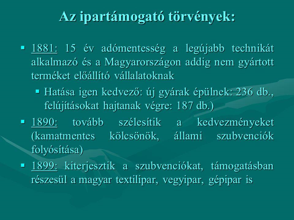 Az ipartámogató törvények:  1881: 15 év adómentesség a legújabb technikát alkalmazó és a Magyarországon addig nem gyártott terméket előállító vállalatoknak  Hatása igen kedvező: új gyárak épülnek: 236 db., felújításokat hajtanak végre: 187 db.)  1890: tovább szélesítik a kedvezményeket (kamatmentes kölcsönök, állami szubvenciók folyósítása)  1899: kiterjesztik a szubvenciókat, támogatásban részesül a magyar textilipar, vegyipar, gépipar is