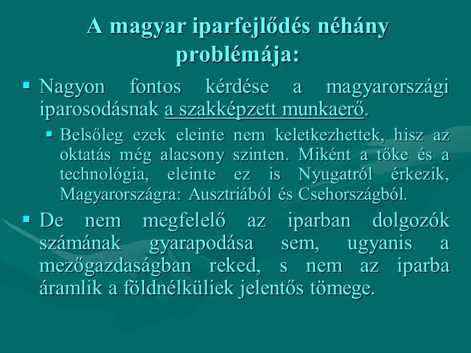 A magyar iparfejlődés néhány problémája:  Nagyon fontos kérdése a magyarországi iparosodásnak a szakképzett munkaerő.  Belsőleg ezek eleinte nem kel
