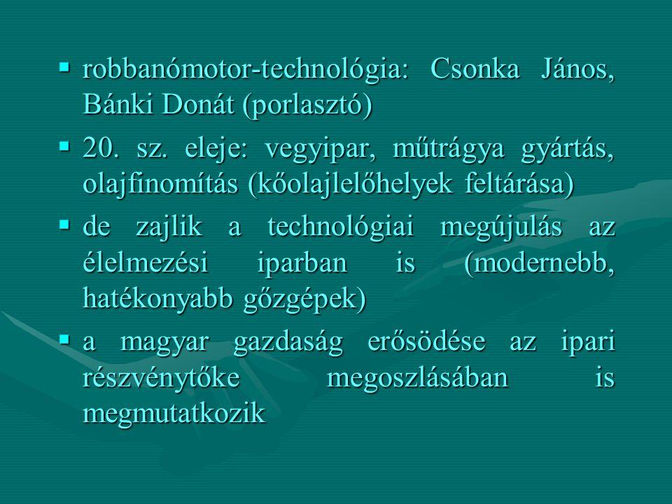  robbanómotor-technológia: Csonka János, Bánki Donát (porlasztó)  20. sz. eleje: vegyipar, műtrágya gyártás, olajfinomítás (kőolajlelőhelyek feltárá