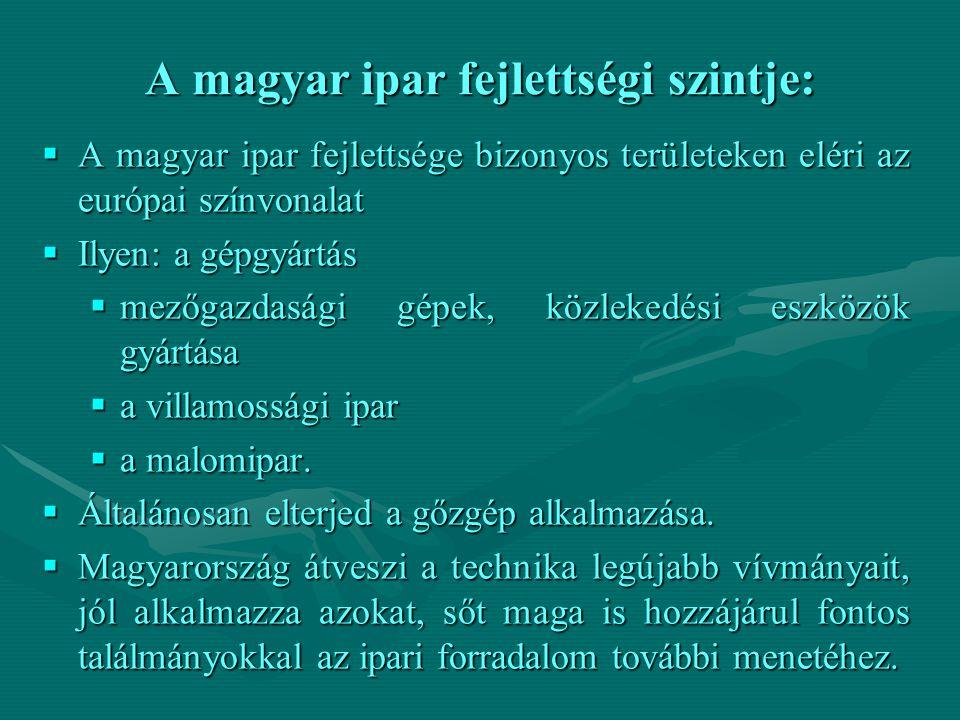 A magyar ipar fejlettségi szintje:  A magyar ipar fejlettsége bizonyos területeken eléri az európai színvonalat  Ilyen: a gépgyártás  mezőgazdasági