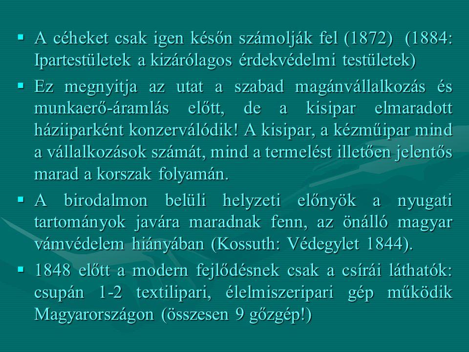 A céheket csak igen későn számolják fel (1872) (1884: Ipartestületek a kizárólagos érdekvédelmi testületek)  Ez megnyitja az utat a szabad magánvál