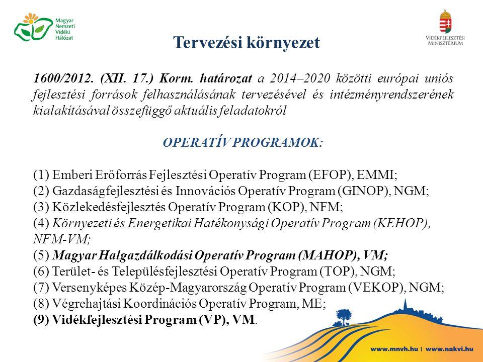 Tervezési környezet 1600/2012. (XII. 17.) Korm. határozat a 2014–2020 közötti európai uniós fejlesztési források felhasználásának tervezésével és inté