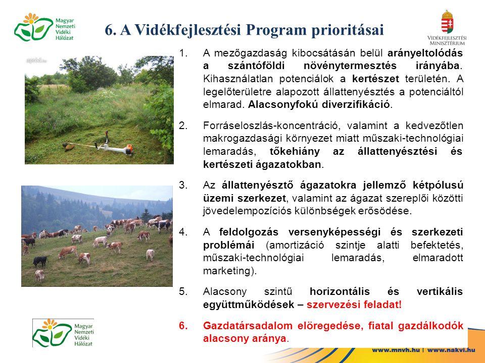6. A Vidékfejlesztési Program prioritásai 1.A mezőgazdaság kibocsátásán belül arányeltolódás a szántóföldi növénytermesztés irányába. Kihasználatlan p