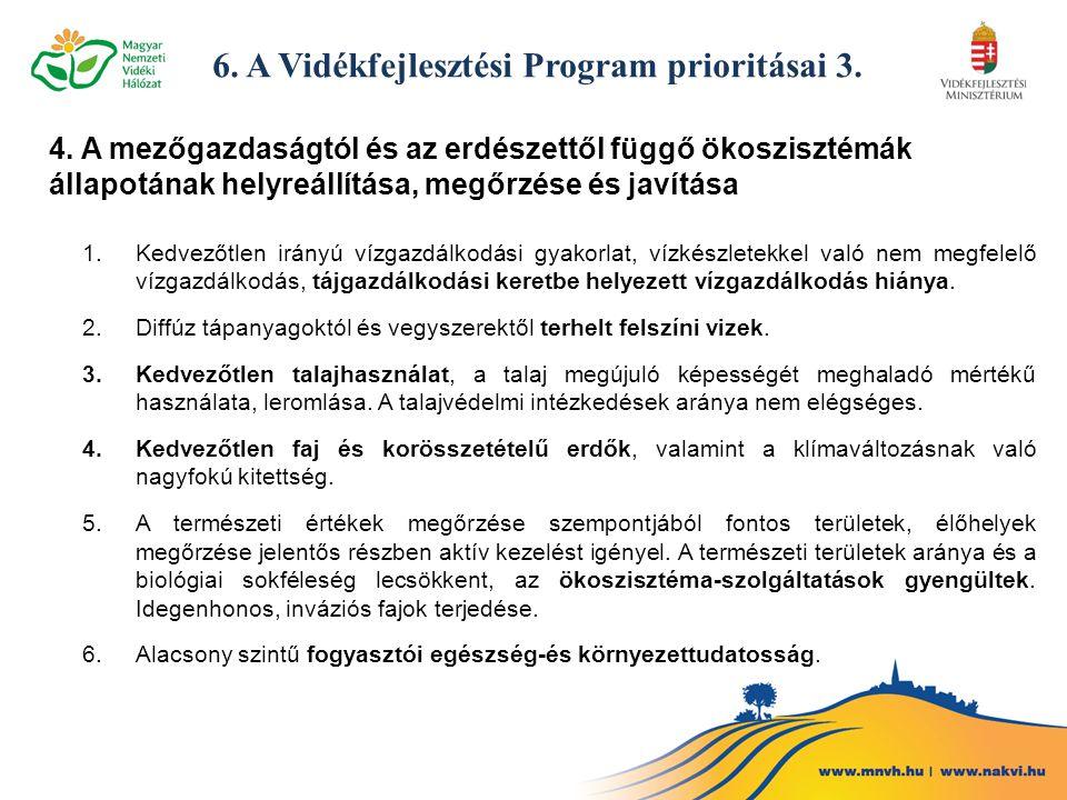 6. A Vidékfejlesztési Program prioritásai 3. 4. A mezőgazdaságtól és az erdészettől függő ökoszisztémák állapotának helyreállítása, megőrzése és javít