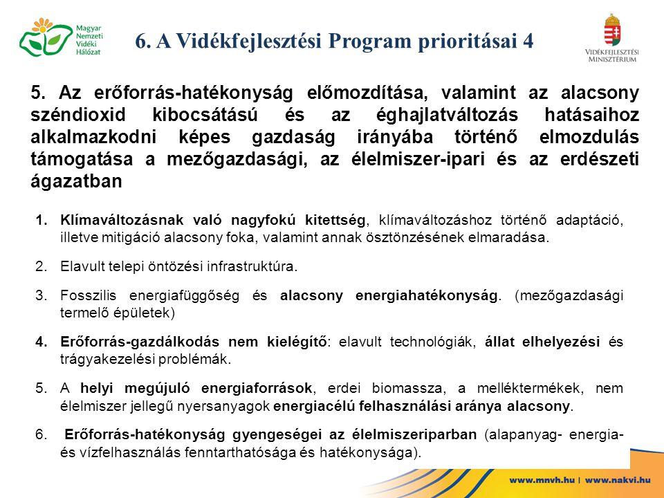 6. A Vidékfejlesztési Program prioritásai 4 5. Az erőforrás-hatékonyság előmozdítása, valamint az alacsony széndioxid kibocsátású és az éghajlatváltoz