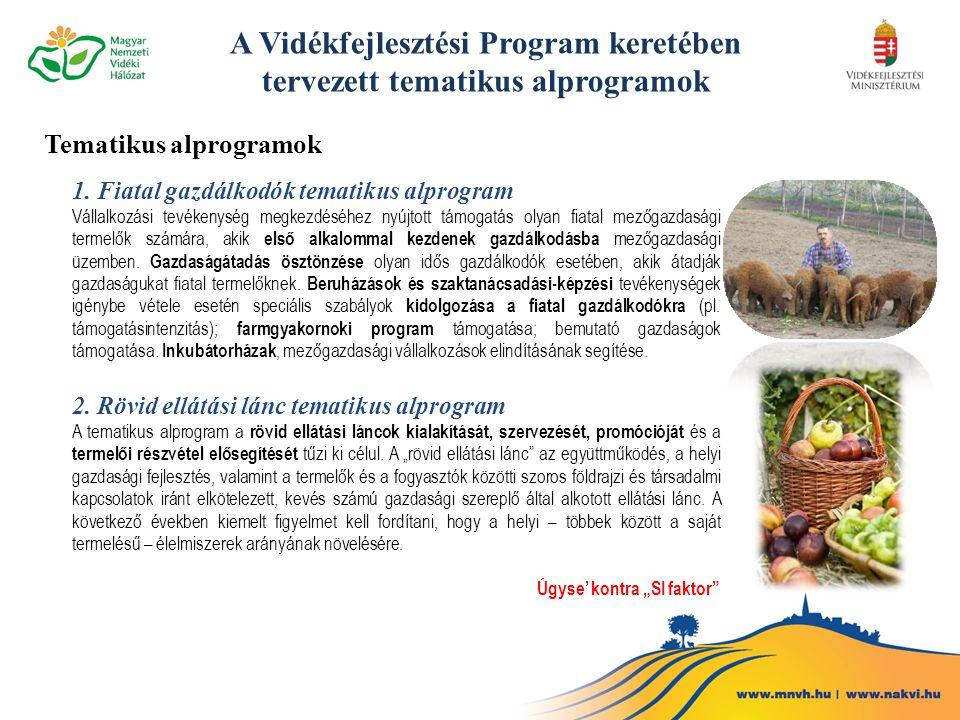 Tematikus alprogramok 1. Fiatal gazdálkodók tematikus alprogram Vállalkozási tevékenység megkezdéséhez nyújtott támogatás olyan fiatal mezőgazdasági t