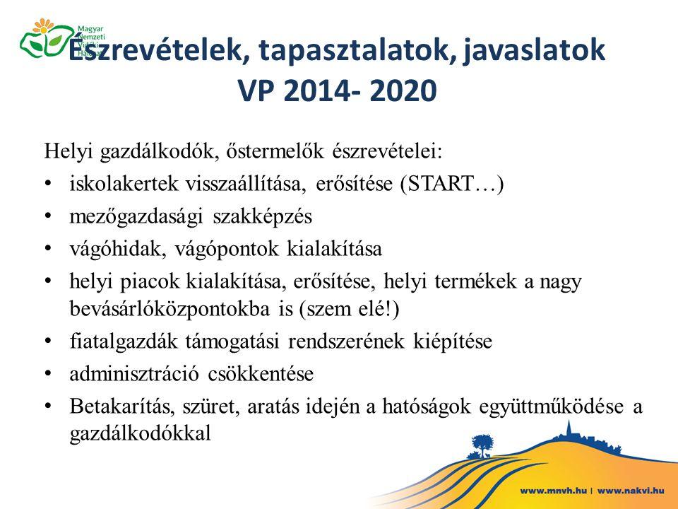 Észrevételek, tapasztalatok, javaslatok VP 2014- 2020 Helyi gazdálkodók, őstermelők észrevételei: iskolakertek visszaállítása, erősítése (START…) mező