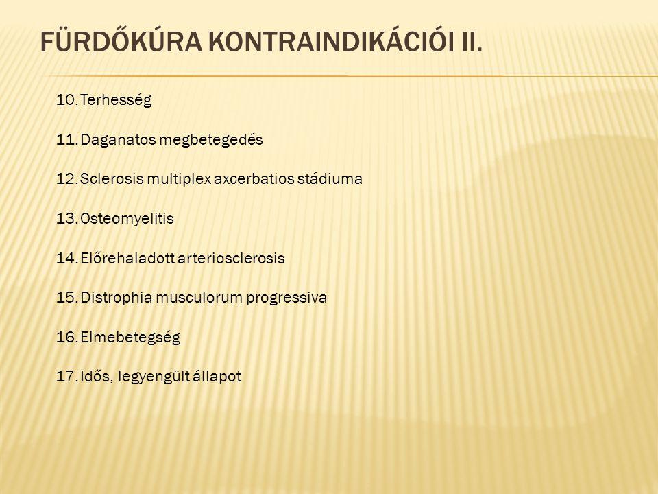 FÜRDŐKÚRA KONTRAINDIKÁCIÓI II.