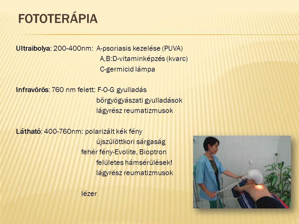 FOTOTERÁPIA Ultraibolya: 200-400nm: A-psoriasis kezelése (PUVA) A,B:D-vitaminképzés (kvarc) C-germicid lámpa Infravörös: 760 nm felett: F-O-G gyulladás bőrgyógyászati gyulladások lágyrész reumatizmusok Látható: 400-760nm: polarizált kék fény újszülöttkori sárgaság fehér fény-Evolite, Bioptron felületes hámsérülések.