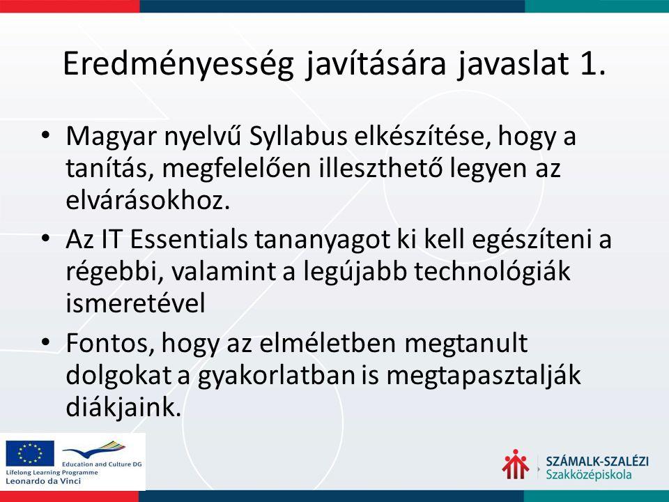 Eredményesség javítására javaslat 1. Magyar nyelvű Syllabus elkészítése, hogy a tanítás, megfelelően illeszthető legyen az elvárásokhoz. Az IT Essenti
