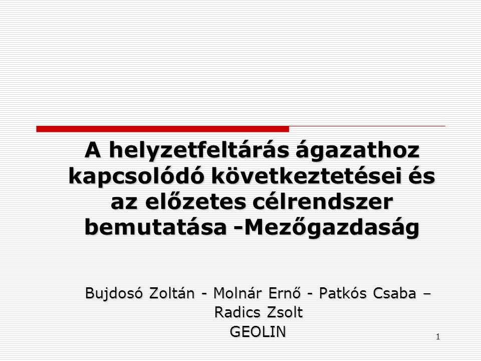 A helyzetfeltárás ágazathoz kapcsolódó következtetései és az előzetes célrendszer bemutatása -Mezőgazdaság Bujdosó Zoltán - Molnár Ernő - Patkós Csaba – Radics Zsolt GEOLIN 1