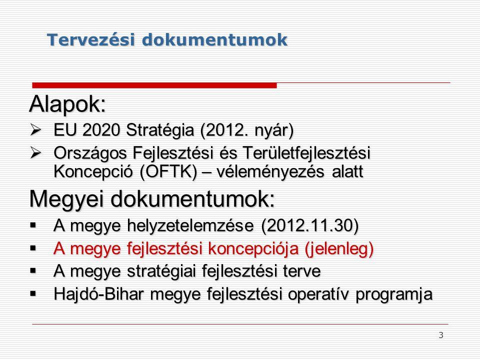 Tervezési dokumentumok Alapok:  EU 2020 Stratégia (2012. nyár)  Országos Fejlesztési és Területfejlesztési Koncepció (OFTK) – véleményezés alatt Meg